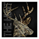 """The Hunt"" Deer Hunting Camoflauge Antlers Poster"