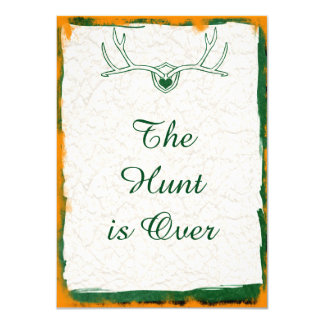 The Hunt is Over Antler Camo Wedding Invitations