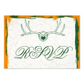 The Hunt is Over Antler Camo Wedding RSVP Cards