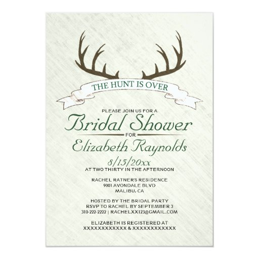 """The Hunt is Over Bridal Shower Invitations 5"""" X 7"""" Invitation Card"""