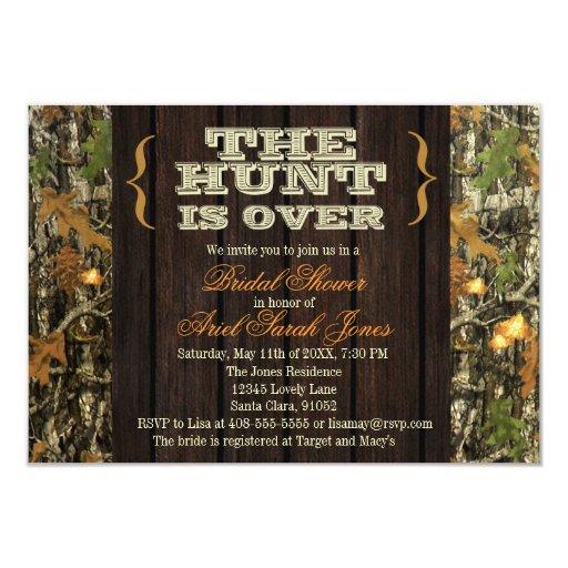 "The Hunt Is Over Camo Bridal Shower Invitation 3.5"" X 5"" Invitation Card"