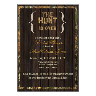 The Hunt Is Over Camo Bridal Shower Invitation