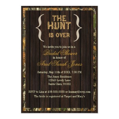 The Hunt Is Over Bridal Shower Invitations Zazzle Com