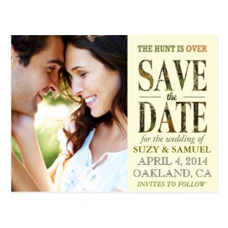 The Hunt is Over Camo Save The Date Announcement Postcard