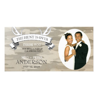 """""""The Hunt is Over"""" Camo Wedding Photo Thank You Card"""