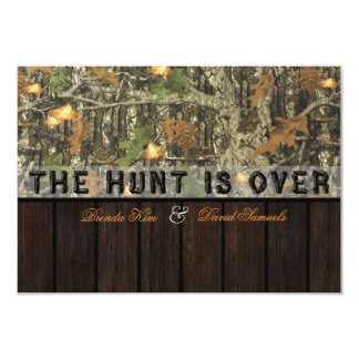 "The Hunt Is Over Camo Wood Wedding Invitation 3.5"" X 5"" Invitation Card"