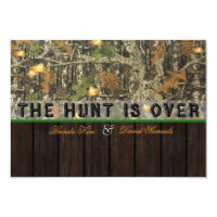 The Hunt Is Over Camo Wood Wedding Invitation