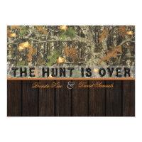 The Hunt Is Over Camo Wood Wedding Invitation (<em>$2.01</em>)