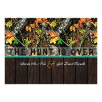 The Hunt Is Over Camo Wood Wedding Invitations (<em>$1.90</em>)