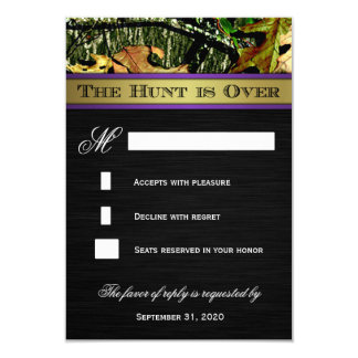 The Hunt is Over Hunting Camo Wedding RSVP Cards