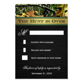 "The Hunt is Over Hunting Camo Wedding RSVP Cards 3.5"" X 5"" Invitation Card"