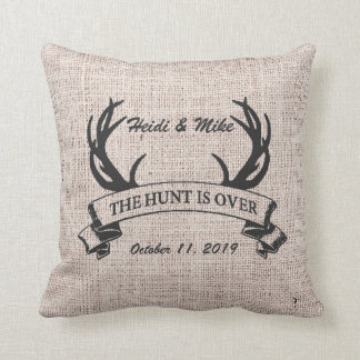 """The Hunt is Over"" Rustic Antler Wedding Gift Throw Pillow"