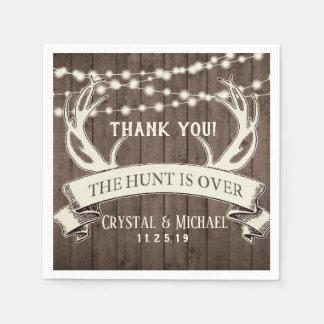 The Hunt is Over Rustic Barnwood Evening Wedding Napkin