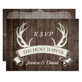 The Hunt is Over Rustic Barnwood Wedding RSVP Card