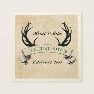 """The Hunt is Over"" Rustic Custom Wedding Gift Napkin"