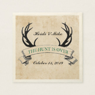 """The Hunt is Over"" Rustic Custom Wedding Gift Standard Cocktail Napkin"