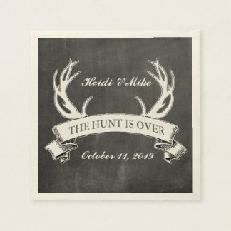 """The Hunt is Over"" Rustic Custom Wedding Gift Paper Napkin"