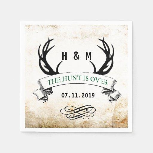 The Hunt Is Over Rustic Custom Wedding Gift Standard Cocktail Napkin