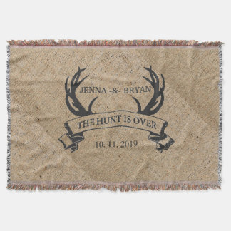 """The Hunt is Over"" Rustic Custom Wedding Gift Throw Blanket"