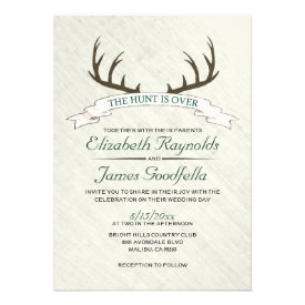 The Hunt is Over Wedding Invitations Custom Announcement