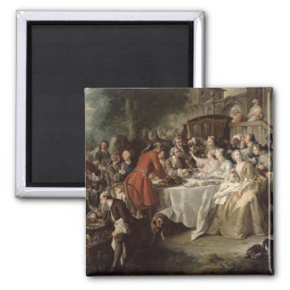 The Hunt Lunch, detail of the diners, 1737 2 Inch Square Magnet