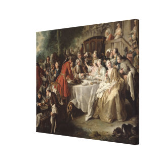 The Hunt Lunch, detail of the diners, 1737 Canvas Print