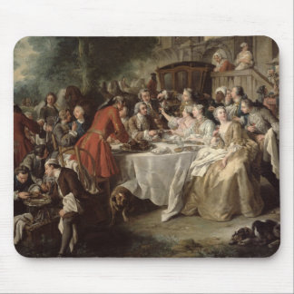 The Hunt Lunch, detail of the diners, 1737 Mouse Pad