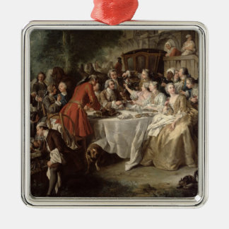 The Hunt Lunch, detail of the diners, 1737 Ornament