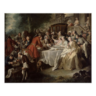 The Hunt Lunch, detail of the diners, 1737 Print