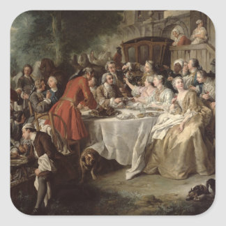 The Hunt Lunch, detail of the diners, 1737 Square Sticker