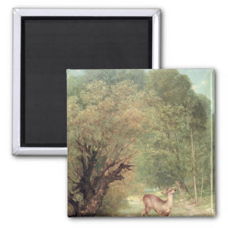 The Hunted Roe-Deer on the alert, Spring, 1867 2 Inch Square Magnet