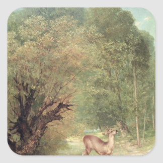 The Hunted Roe-Deer on the alert, Spring, 1867 Square Sticker