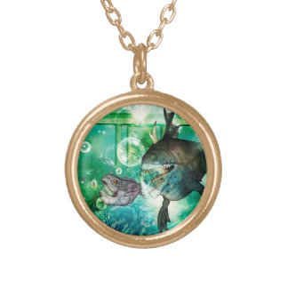 The hunter and hunted in the underwater world round pendant necklace