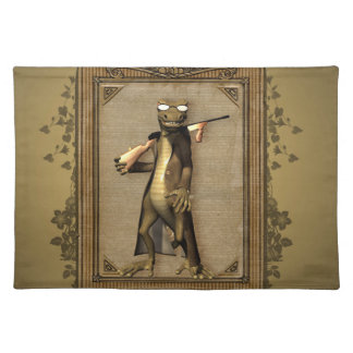 The hunter, funny, cute gecko with gun cloth placemat