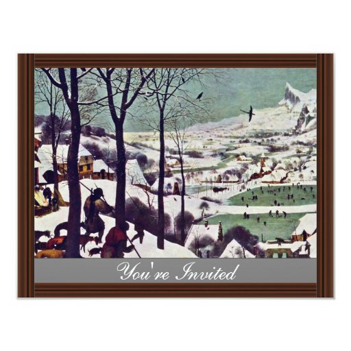 """The Hunters In The Snow,  By Bruegel D. Ä. Pieter 4.25"""" X 5.5"""" Invitation Card"""