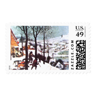 The Hunters in the Snow. Fine Art Postage Stamps