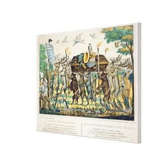 The Hunter's Procession, c.1850 (hand coloured lit Canvas Print