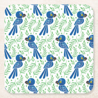 The Hyacinth Macaw Pattern Square Paper Coaster