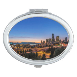 The I-5 freeway and downtown Seattle at twilight Compact Mirror