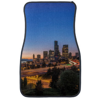 The I-5 freeway and downtown Seattle at twilight Floor Mat