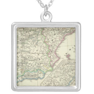 The Iberian Peninsula from 1257 to 1479 Square Pendant Necklace