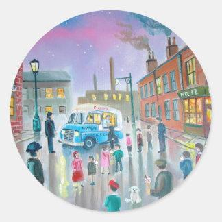 The Ice Cream Van oil painting Classic Round Sticker