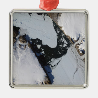 The ice island square metal christmas ornament