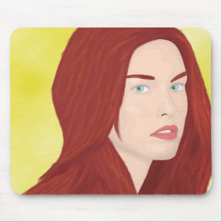 The ice princess - Red hair, green eyes Mouse Pad