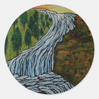 The Icebound Waterfall Classic Round Sticker