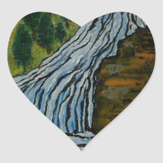 The Icebound Waterfall Heart Sticker