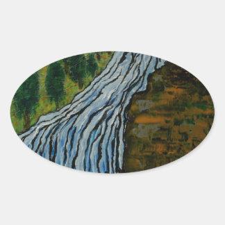 The Icebound Waterfall Oval Sticker