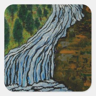 The Icebound Waterfall Square Sticker