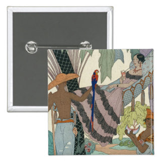 The idle beauty (pochoir print) 2 inch square button