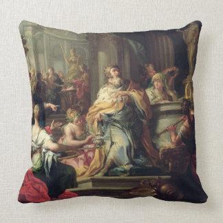 The Idolisation of Solomon, c.1735 (oil on canvas) Throw Pillow
